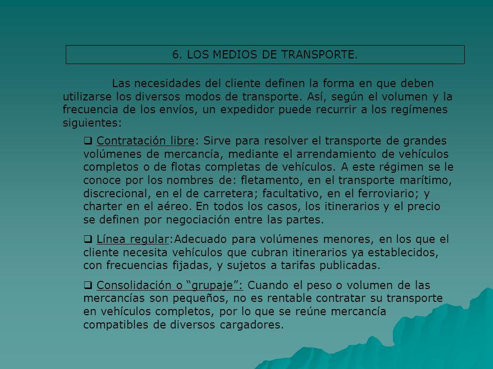 6. LOS MEDIOS DE TRANSPORTE. Las necesidades del cliente definen la forma en que deben utilizarse los diversos modos de transporte. Así, según el volu