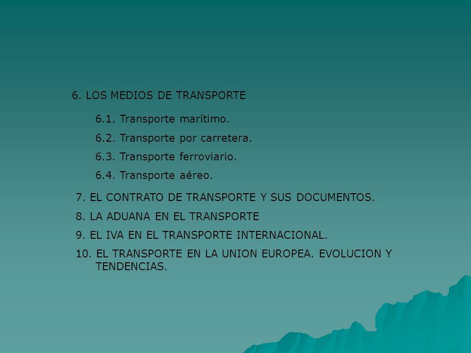 6. LOS MEDIOS DE TRANSPORTE 6.1. Transporte marítimo. 6.2. Transporte por carretera. 6.3. Transporte ferroviario. 6.4. Transporte aéreo. 7. EL CONTRAT