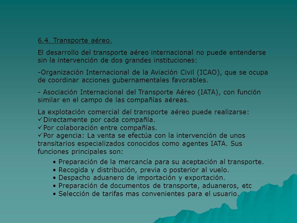 6.4. Transporte aéreo. El desarrollo del transporte aéreo internacional no puede entenderse sin la intervención de dos grandes instituciones: -Organiz