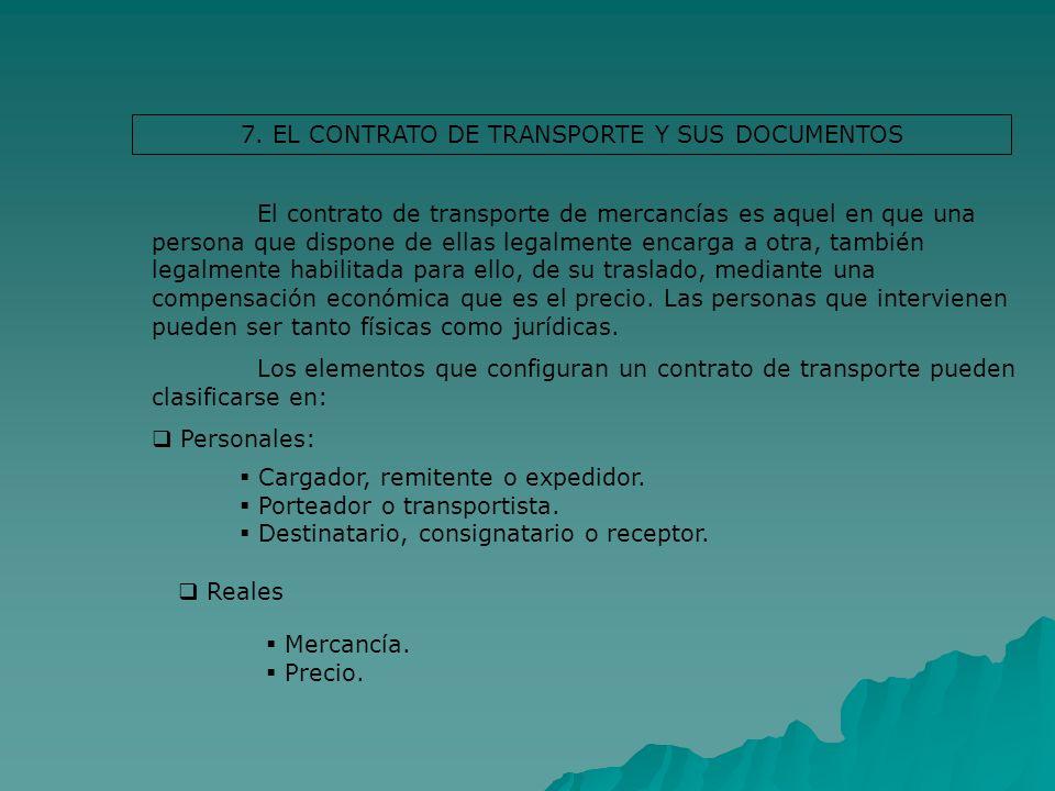 7. EL CONTRATO DE TRANSPORTE Y SUS DOCUMENTOS El contrato de transporte de mercancías es aquel en que una persona que dispone de ellas legalmente enca