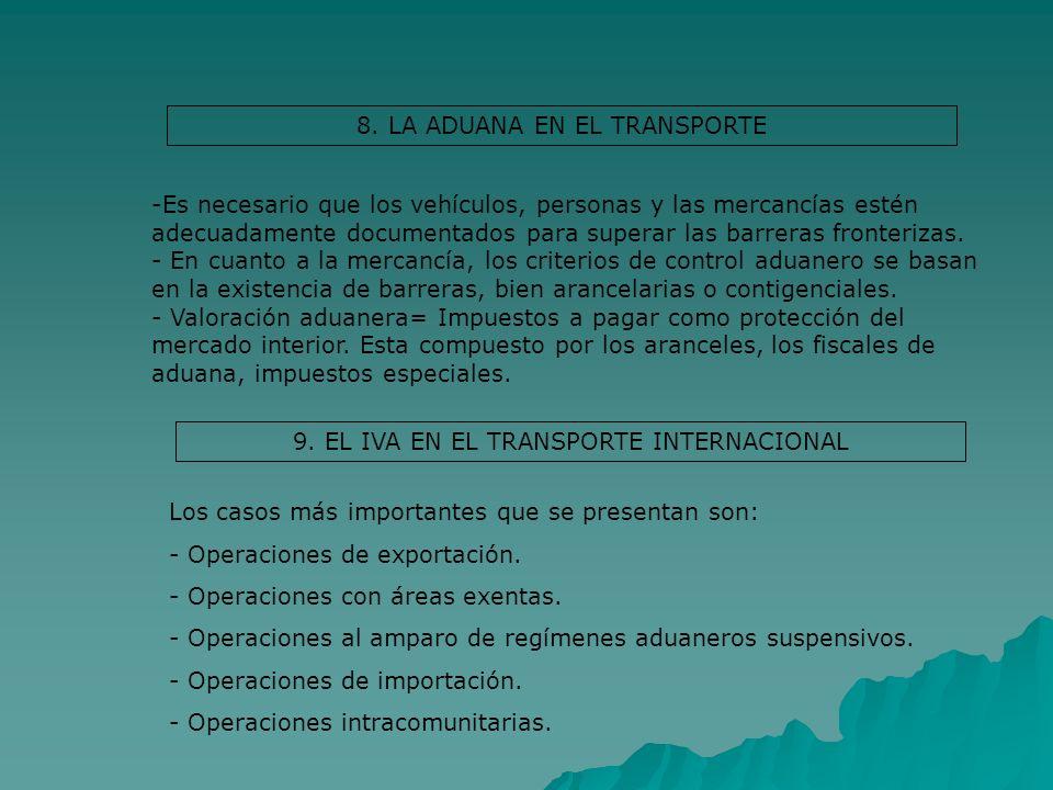 8. LA ADUANA EN EL TRANSPORTE -Es necesario que los vehículos, personas y las mercancías estén adecuadamente documentados para superar las barreras fr