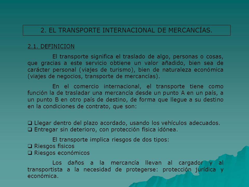 2. EL TRANSPORTE INTERNACIONAL DE MERCANCÍAS. 2.1. DEFINICION El transporte significa el traslado de algo, personas o cosas, que gracias a este servic