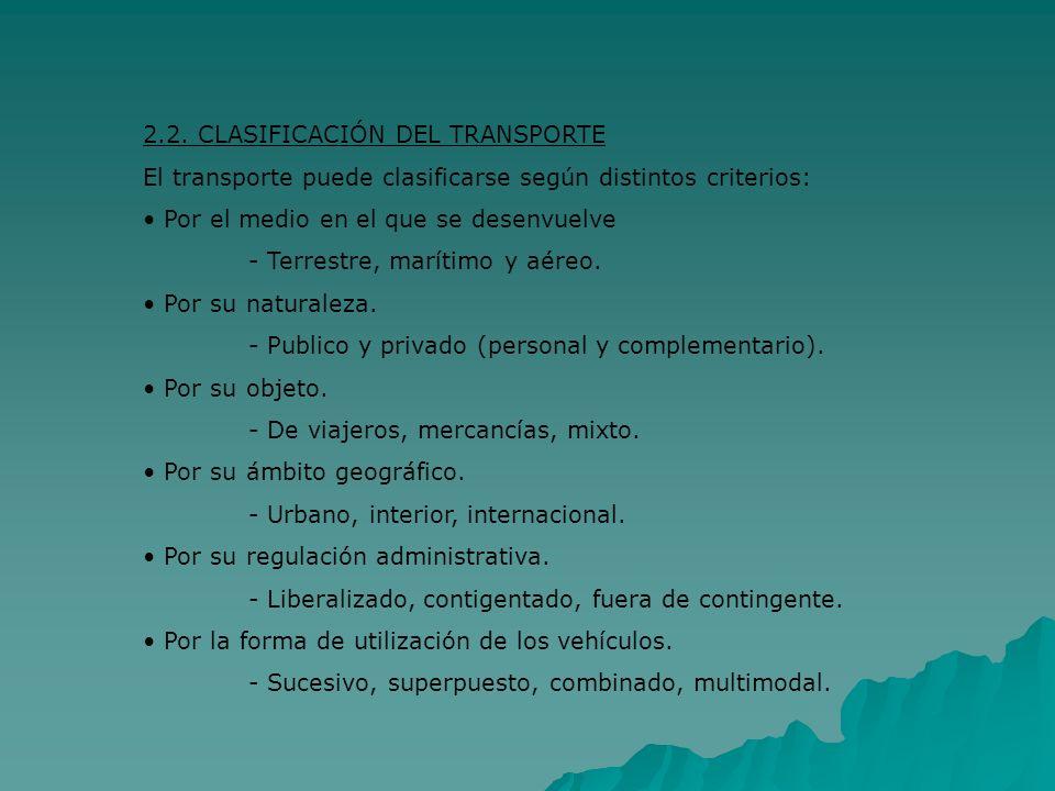 2.2. CLASIFICACIÓN DEL TRANSPORTE El transporte puede clasificarse según distintos criterios: Por el medio en el que se desenvuelve - Terrestre, marít