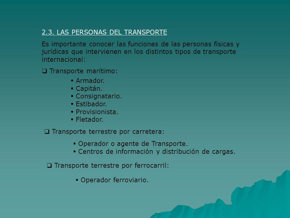 2.3. LAS PERSONAS DEL TRANSPORTE Es importante conocer las funciones de las personas físicas y jurídicas que intervienen en los distintos tipos de tra