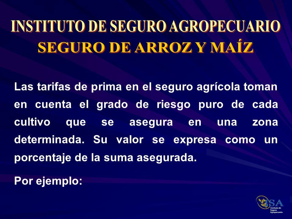 Las tarifas de prima en el seguro agrícola toman en cuenta el grado de riesgo puro de cada cultivo que se asegura en una zona determinada. Su valor se