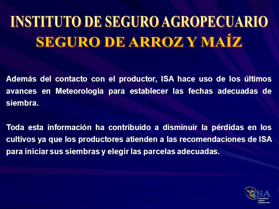 Además del contacto con el productor, ISA hace uso de los últimos avances en Meteorología para establecer las fechas adecuadas de siembra. Toda esta i