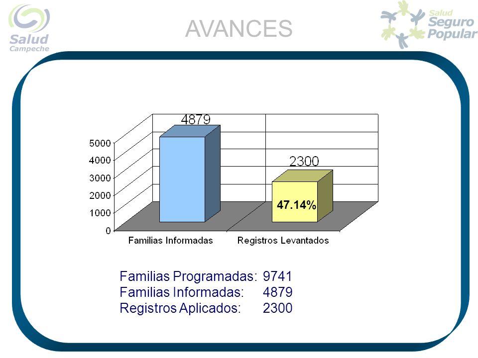 47.14% AVANCES Familias Programadas:9741 Familias Informadas:4879 Registros Aplicados: 2300