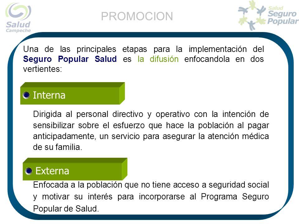 Una de las principales etapas para la implementación del Seguro Popular Salud es la difusión enfocandola en dos vertientes: Dirigida al personal direc