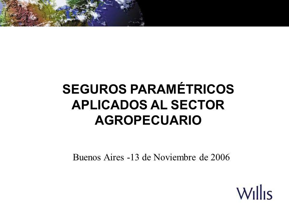 SEGUROS PARAMÉTRICOS APLICADOS AL SECTOR AGROPECUARIO Buenos Aires -13 de Noviembre de 2006