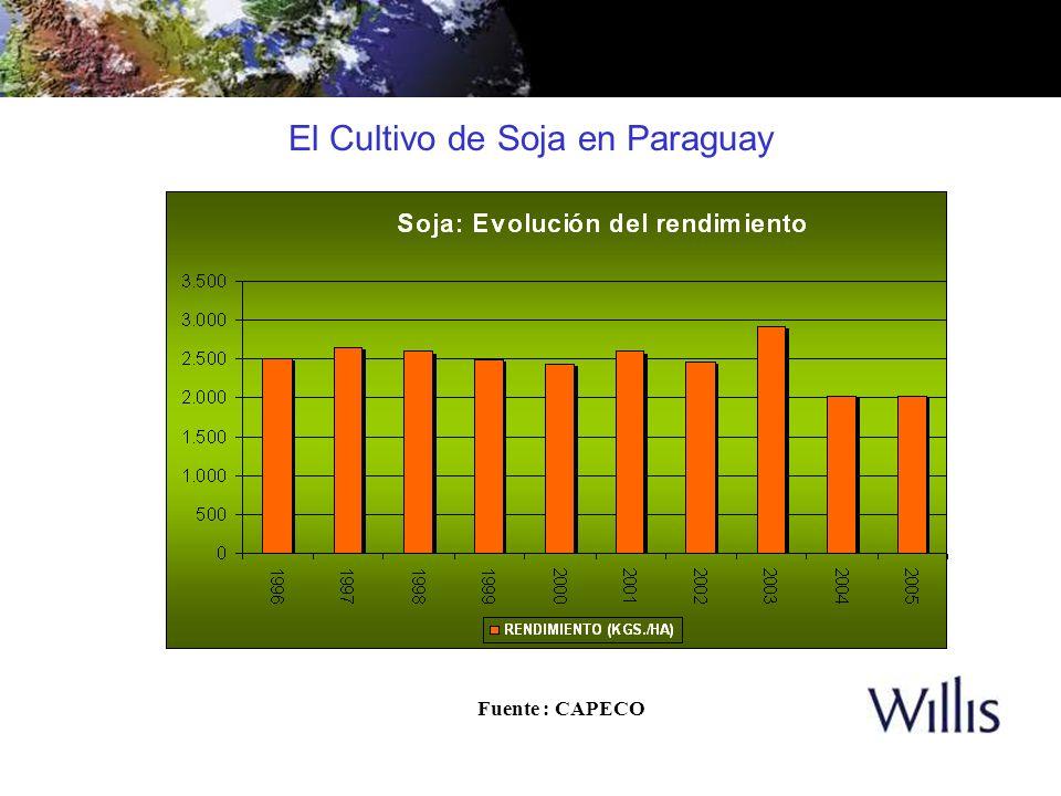 El Cultivo de Soja en Paraguay Fuente : CAPECO