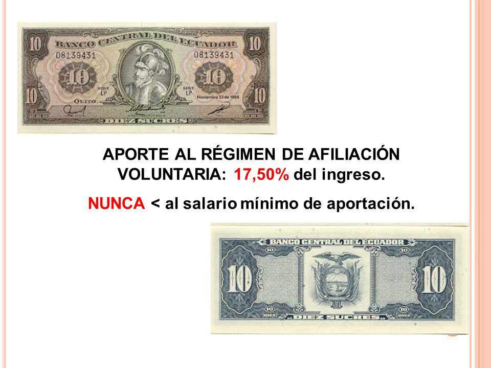 APORTE AL RÉGIMEN DE AFILIACIÓN VOLUNTARIA: 17,50% del ingreso. NUNCA < al salario mínimo de aportación.