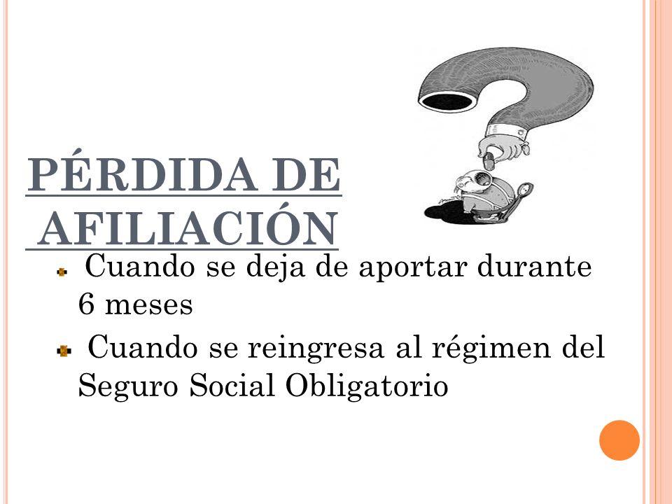 PÉRDIDA DE AFILIACIÓN Cuando se deja de aportar durante 6 meses Cuando se reingresa al régimen del Seguro Social Obligatorio