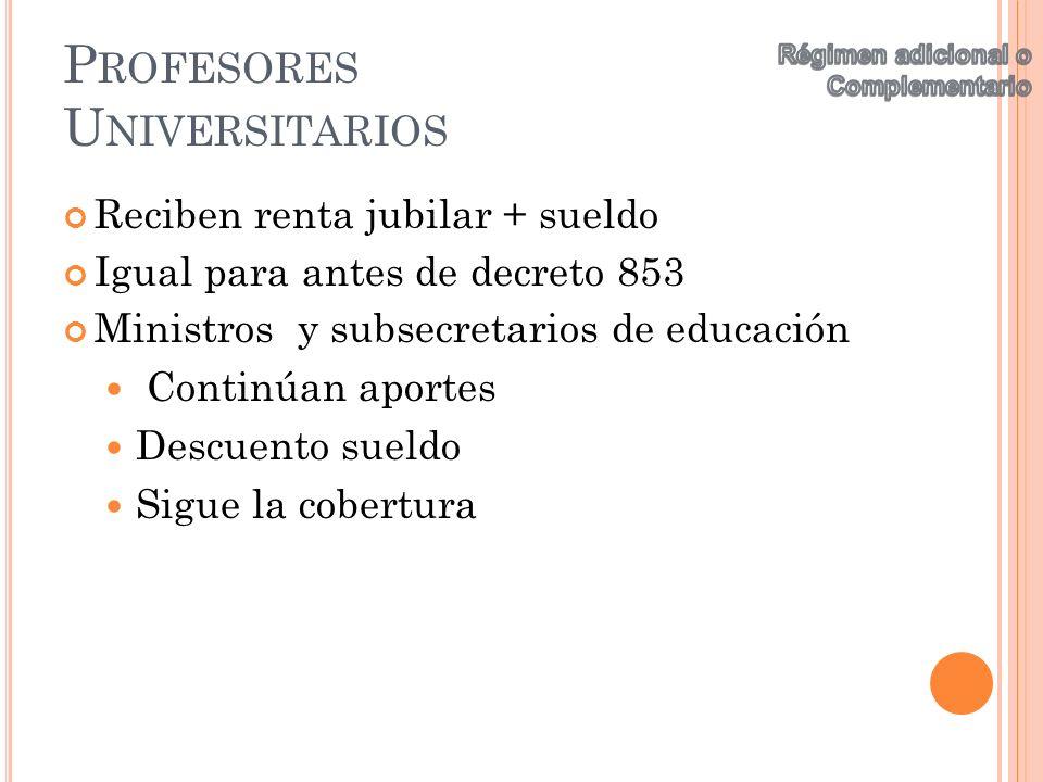 P ROFESORES U NIVERSITARIOS Reciben renta jubilar + sueldo Igual para antes de decreto 853 Ministros y subsecretarios de educación Continúan aportes D