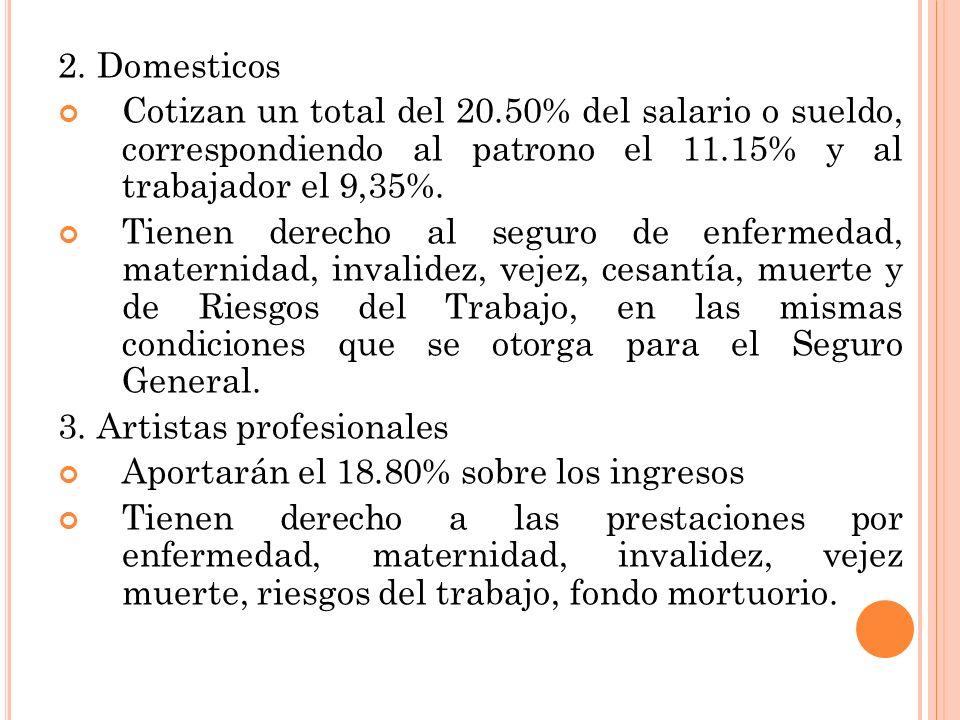 2. Domesticos Cotizan un total del 20.50% del salario o sueldo, correspondiendo al patrono el 11.15% y al trabajador el 9,35%. Tienen derecho al segur