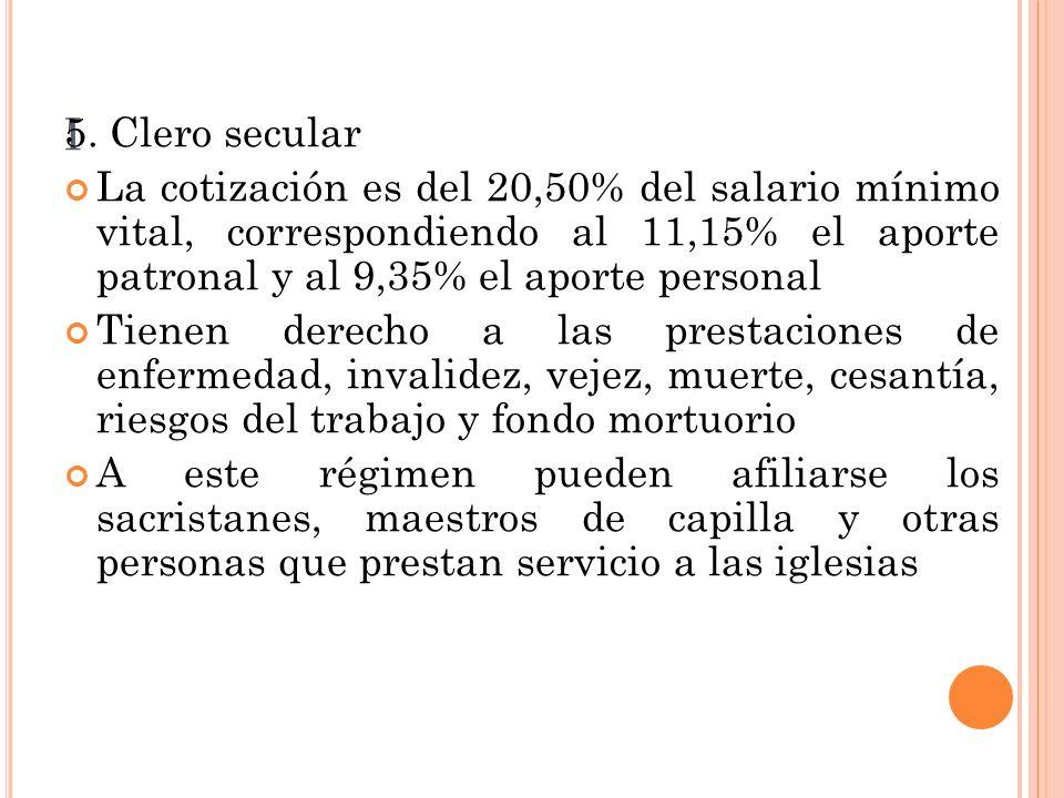 I 5. Clero secular La cotización es del 20,50% del salario mínimo vital, correspondiendo al 11,15% el aporte patronal y al 9,35% el aporte personal Ti