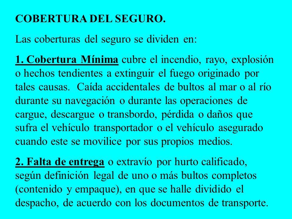 COBERTURA DEL SEGURO.Las coberturas del seguro se dividen en: 1.