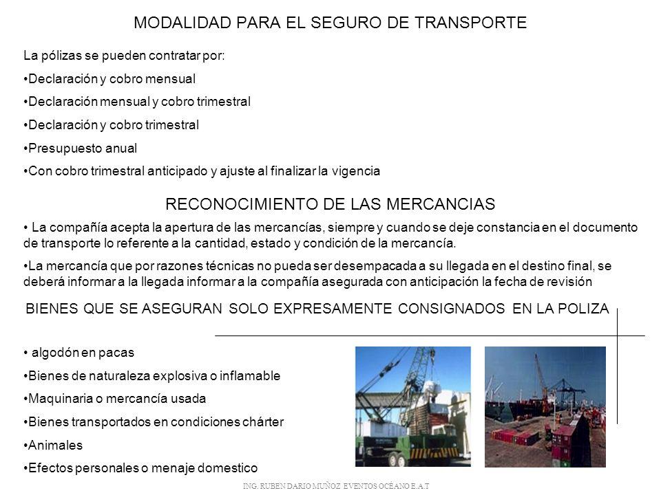 EL SEGURO DE TRANSPORTE MARITIMO Los intereses asegurables mas importantes en este tipo de transporte son: El Buque: Seguro de cascos Las Mercancías: Seguro de mercancías.