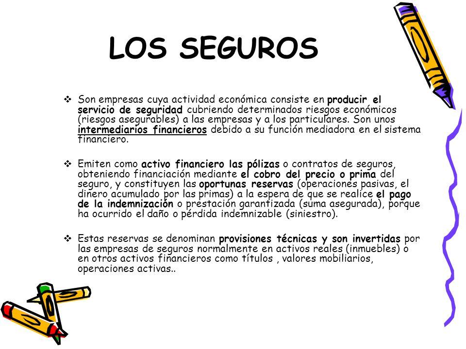 LOS SEGUROS Son empresas cuya actividad económica consiste en producir el servicio de seguridad cubriendo determinados riesgos económicos (riesgos ase