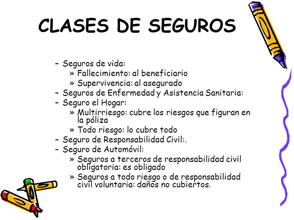 CLASES DE SEGUROS –Seguros de vida: »Fallecimiento: al beneficiario »Supervivencia: al asegurado –Seguros de Enfermedad y Asistencia Sanitaria: –Segur