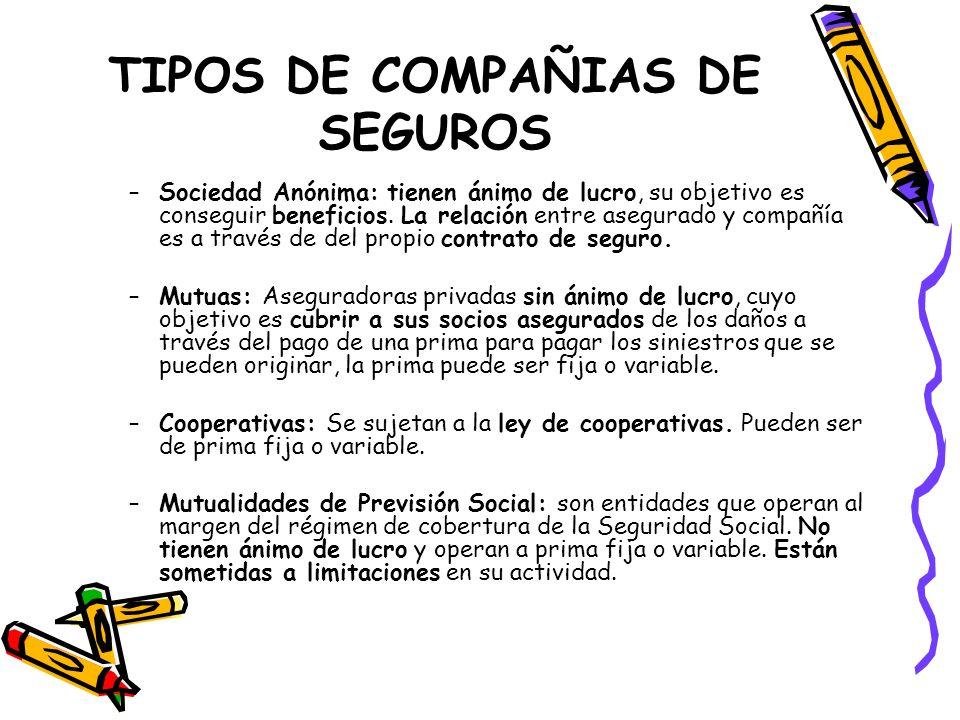 TIPOS DE COMPAÑIAS DE SEGUROS –Sociedad Anónima: tienen ánimo de lucro, su objetivo es conseguir beneficios. La relación entre asegurado y compañía es
