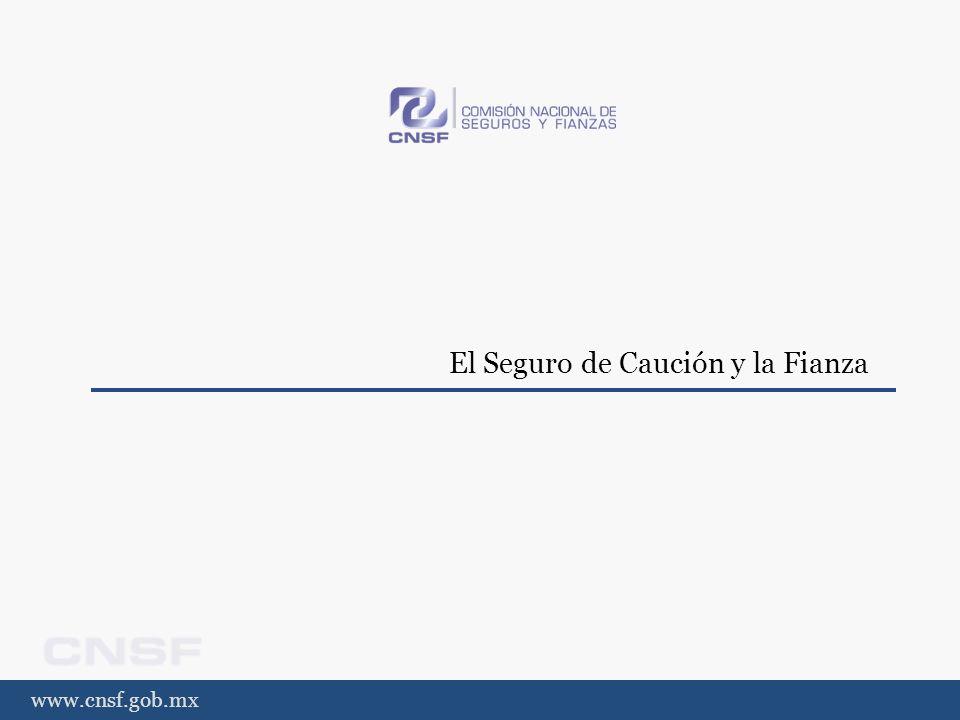 www.cnsf.gob.mx El Seguro de Caución y la Fianza Definición (1/2) EL SEGURO DE CAUCIÓN LA FIANZA Por el contrato de seguro de caución la ASEGURADORA se obliga a indemnizar al ASEGURADO a título de resarcimiento o penalidad de los daños patrimoniales sufridos, dentro de los límites previstos en dicho contrato, al producirse las circunstancias acordadas en el mismo en relación con el incumplimiento por el CONTRATANTE DEL SEGURO de sus obligaciones legales o contractuales, excluyendo las obligaciones relacionadas con contratos de naturaleza financiera.