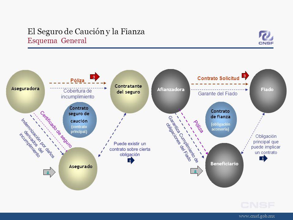www.cnsf.gob.mx El Seguro de Caución y la Fianza Relación entre las partes EL SEGURO DE CAUCIÓNLA FIANZA a)Entre el Contratante del Seguro y el Asegurado: Puede existir un contrato entre ambas partes.