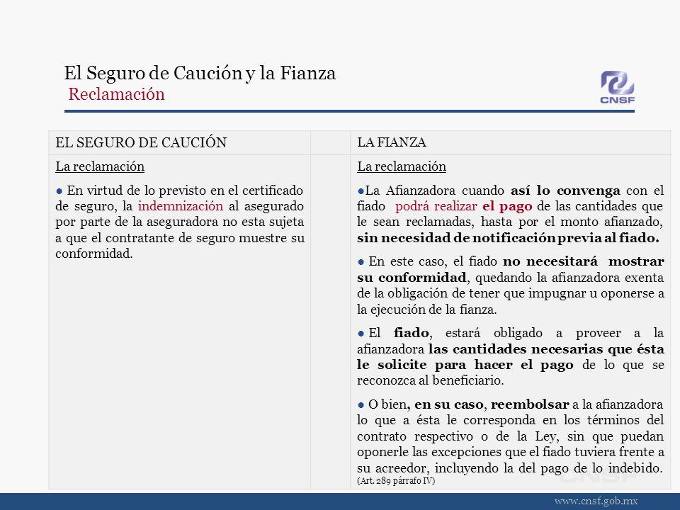 www.cnsf.gob.mx EL SEGURO DE CAUCIÓN LA FIANZA La reclamación En virtud de lo previsto en el certificado de seguro, la indemnización al asegurado por