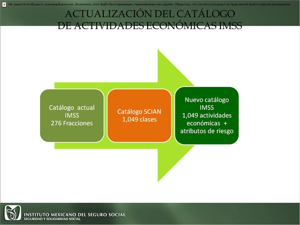 ACTUALIZACIÓN DEL CATÁLOGO DE ACTIVIDADES ECONÓMICAS IMSS En resumen