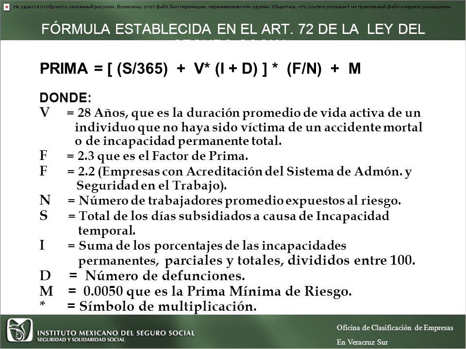 FÓRMULA ESTABLECIDA EN EL ART.72 DE LA LEY DEL SEGURO SOCIAL.