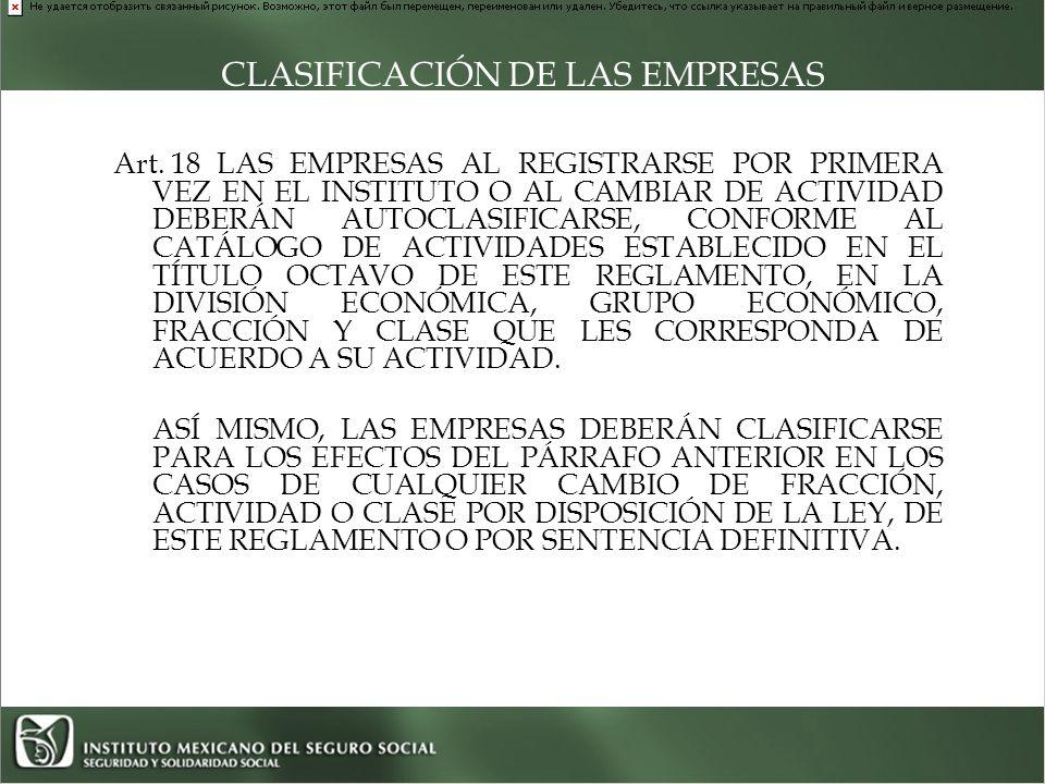 CLASIFICACIÓN DE LAS EMPRESAS Art.