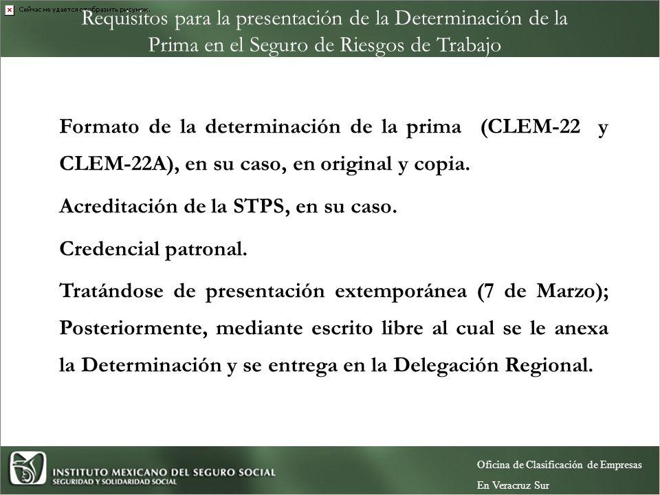Requisitos para la presentación de la Determinación de la Prima en el Seguro de Riesgos de Trabajo En Subdelegación: Formato de la determinación de la prima (CLEM-22 y CLEM-22A), en su caso, en original y copia.