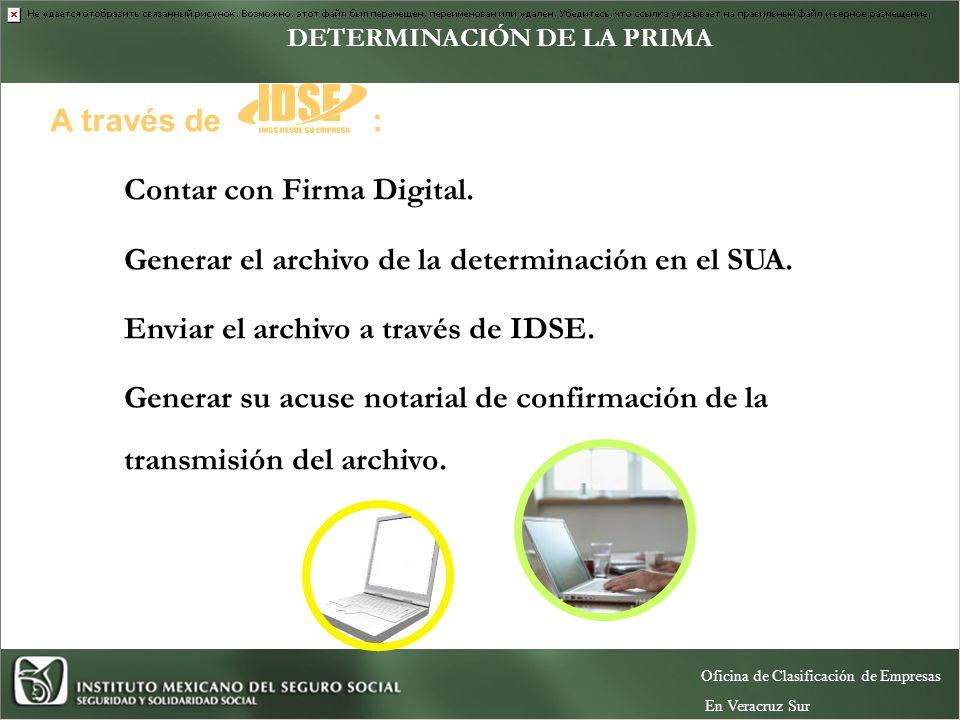 Contar con Firma Digital.Generar el archivo de la determinación en el SUA.