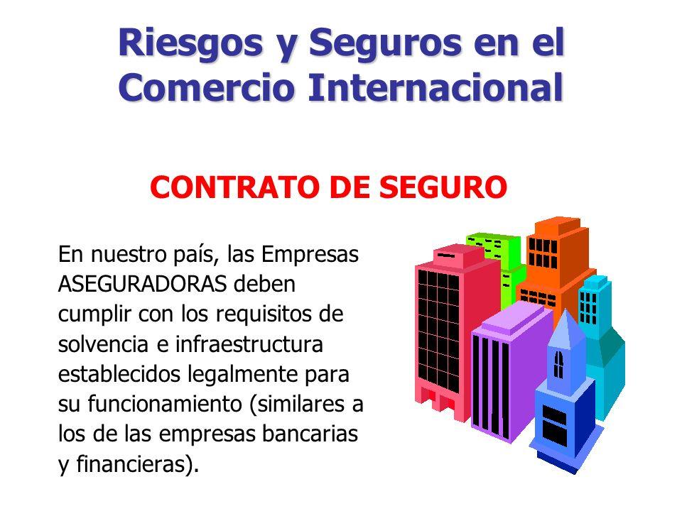 Riesgos y Seguros en el Comercio Internacional Por medio de cual, una Empresa ASEGURADORA asumirá determinados riesgos que deben recaer en una persona ASEGURADA, a cambio del pago de una PRIMA.