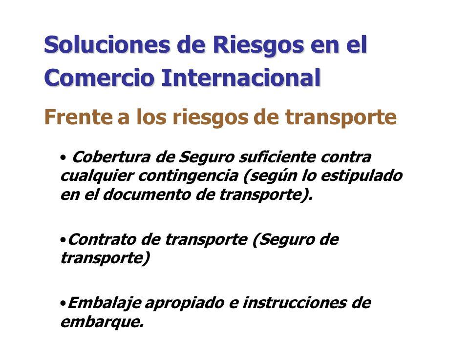 ¿QUE HACER FRENTE A CADA TIPO DE RIESGO? Riesgos en el Comercio Internacional