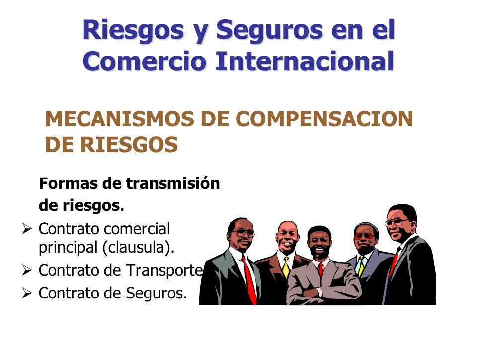 Riesgos y Seguros en el Comercio Internacional Mediante los cuales se trasladar la asunción de los riesgos, ya sea a la persona con quien realiza la transacción comercial o a un tercero ajeno a dicha transacción.