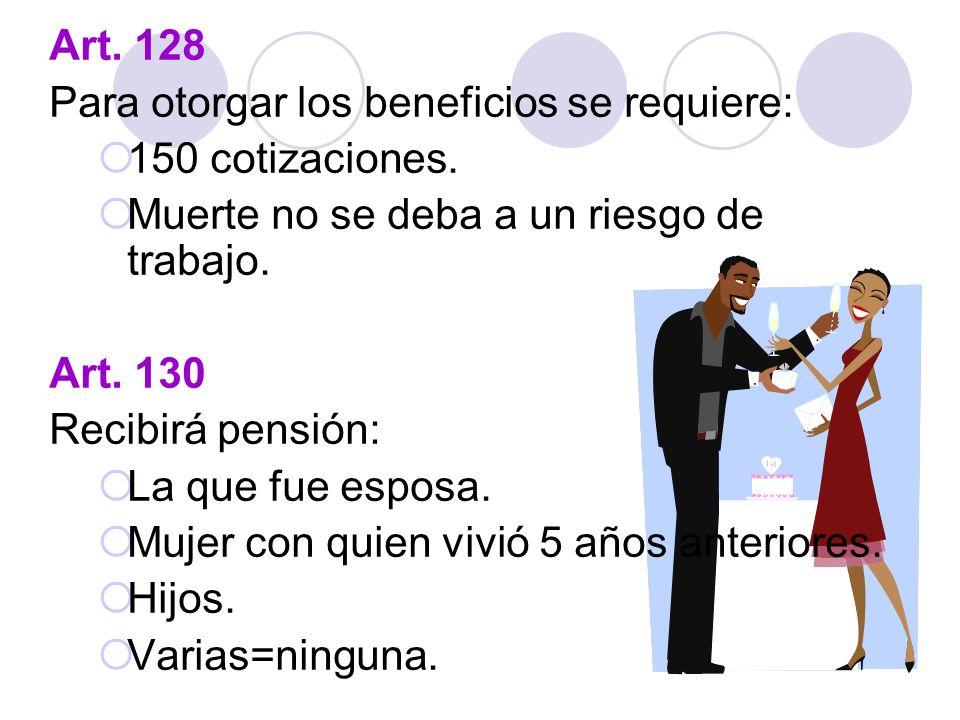 Art. 128 Para otorgar los beneficios se requiere: 150 cotizaciones. Muerte no se deba a un riesgo de trabajo. Art. 130 Recibirá pensión: La que fue es