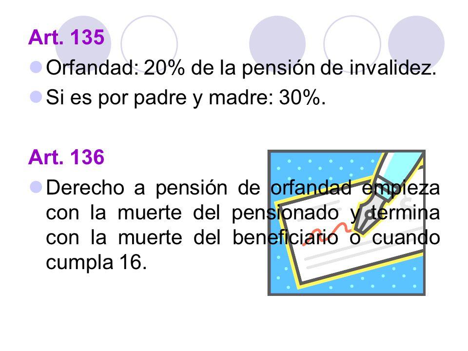 Art. 135 Orfandad: 20% de la pensión de invalidez. Si es por padre y madre: 30%. Art. 136 Derecho a pensión de orfandad empieza con la muerte del pens