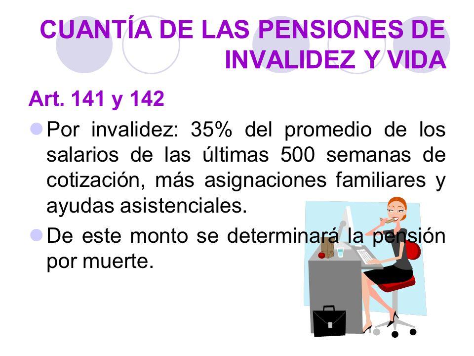 CUANTÍA DE LAS PENSIONES DE INVALIDEZ Y VIDA Art. 141 y 142 Por invalidez: 35% del promedio de los salarios de las últimas 500 semanas de cotización,