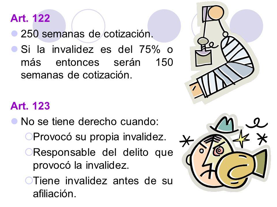 Art. 122 250 semanas de cotización. Si la invalidez es del 75% o más entonces serán 150 semanas de cotización. Art. 123 No se tiene derecho cuando: Pr
