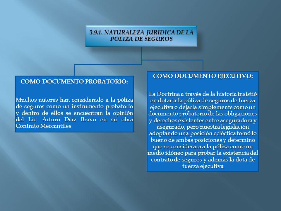 3.9.1. NATURALEZA JURIDICA DE LA POLIZA DE SEGUROS COMO DOCUMENTO PROBATORIO: Muchos autores han considerado a la póliza de seguros como un instrument