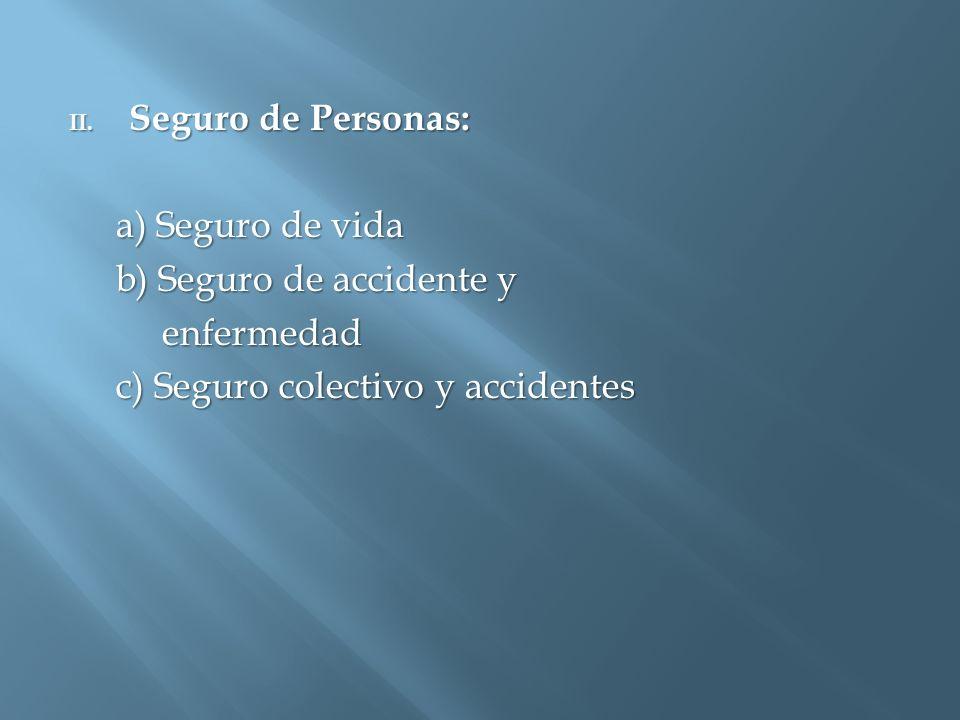 II. Seguro de Personas: a) Seguro de vida a) Seguro de vida b) Seguro de accidente y b) Seguro de accidente y enfermedad enfermedad c) Seguro colectiv