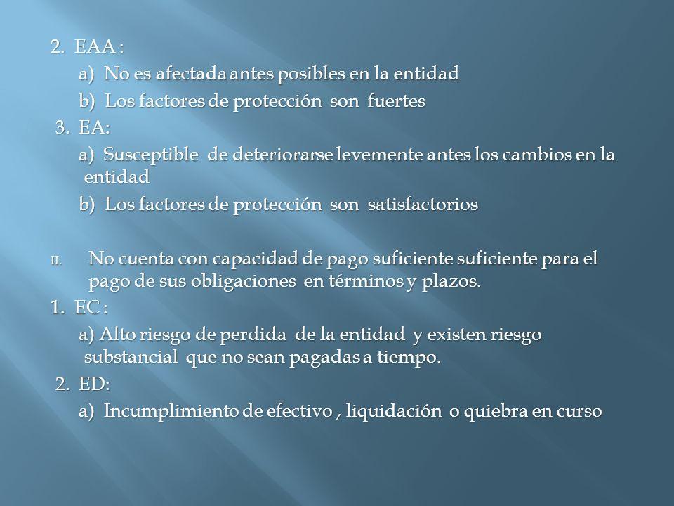 2. EAA : a) No es afectada antes posibles en la entidad a) No es afectada antes posibles en la entidad b) Los factores de protección son fuertes b) Lo