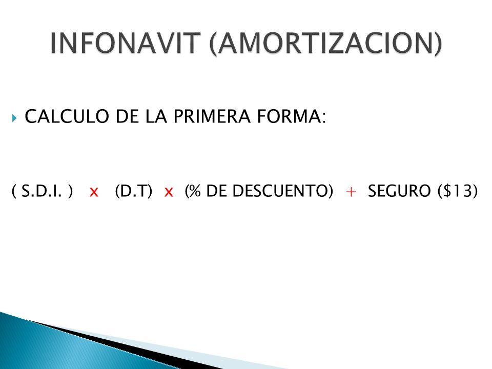 CALCULO DE LA PRIMERA FORMA: ( S.D.I. ) x (D.T) x (% DE DESCUENTO) + SEGURO ($13)
