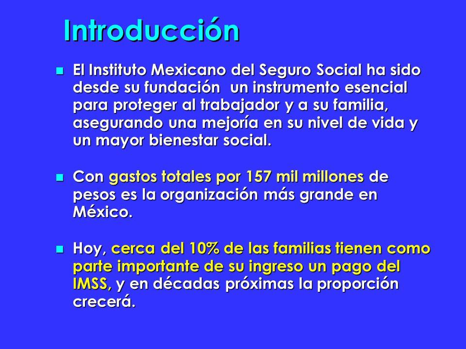 Introducción El Instituto Mexicano del Seguro Social ha sido desde su fundación un instrumento esencial para proteger al trabajador y a su familia, asegurando una mejoría en su nivel de vida y un mayor bienestar social.