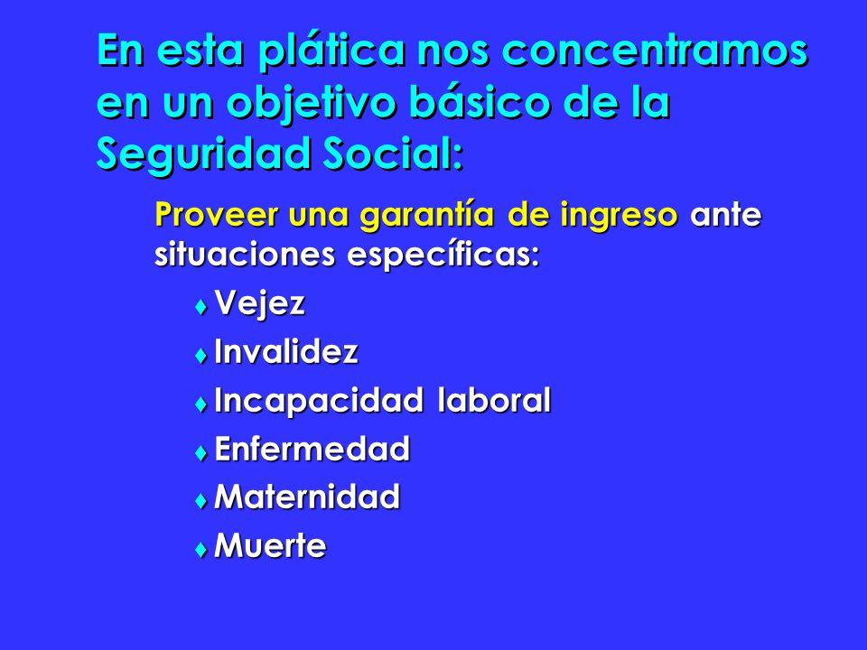 En esta plática nos concentramos en un objetivo básico de la Seguridad Social: Proveer una garantía de ingreso ante situaciones específicas: Vejez Vejez Invalidez Invalidez Incapacidad laboral Incapacidad laboral Enfermedad Enfermedad Maternidad Maternidad Muerte Muerte