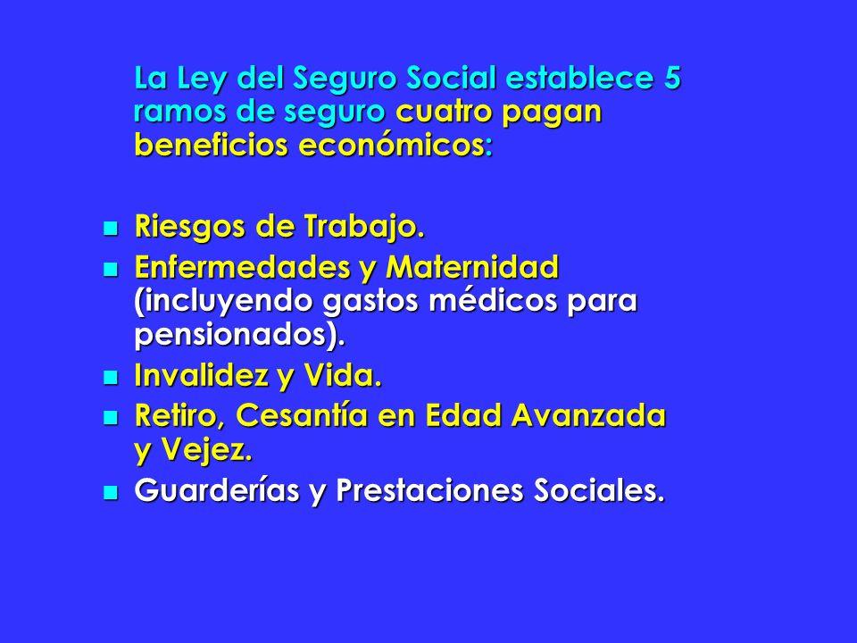 La Ley del Seguro Social establece 5 ramos de seguro cuatro pagan beneficios económicos: Riesgos de Trabajo. Riesgos de Trabajo. Enfermedades y Matern
