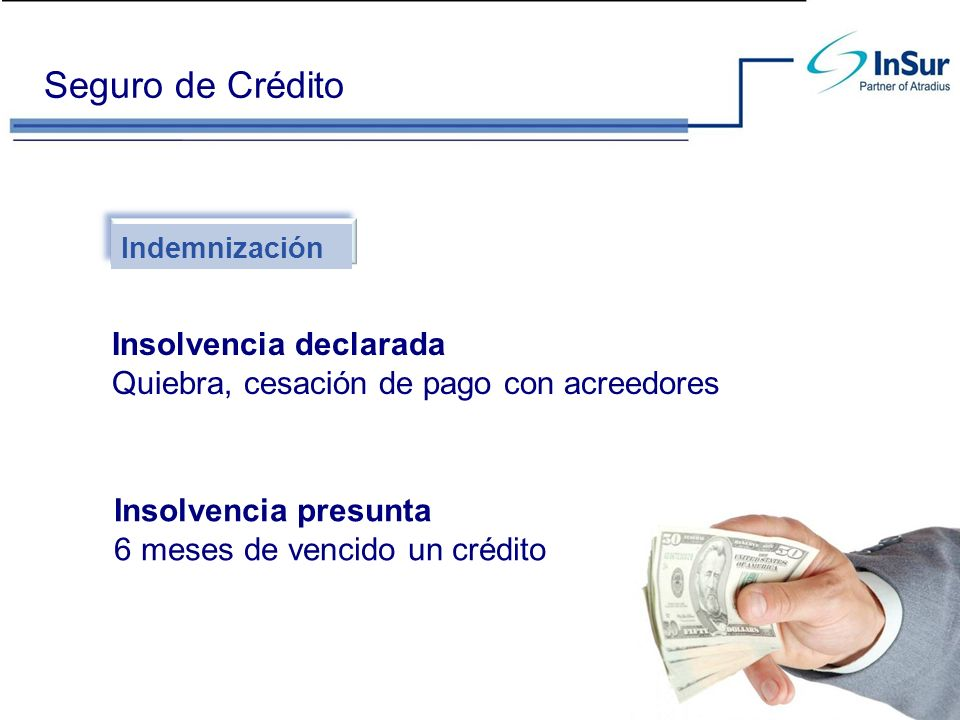 Seguro de Crédito Indemnización Insolvencia declarada Quiebra, cesación de pago con acreedores Insolvencia presunta 6 meses de vencido un crédito