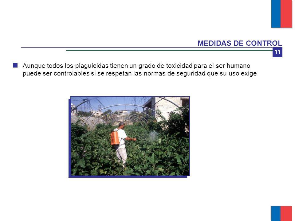 11 MEDIDAS DE CONTROL Aunque todos los plaguicidas tienen un grado de toxicidad para el ser humano puede ser controlables si se respetan las normas de