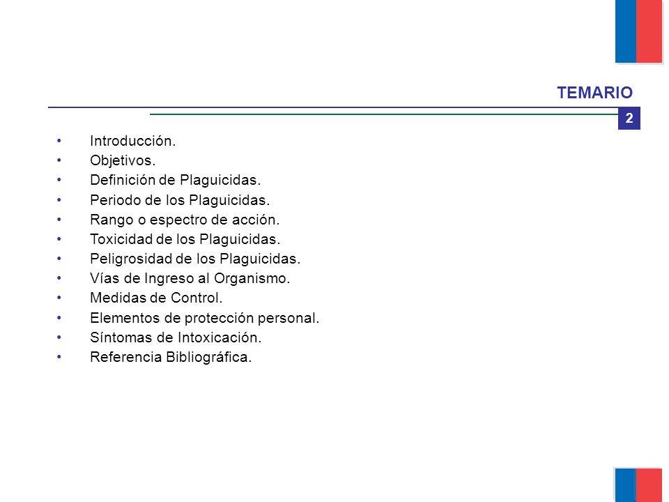 TEMARIO 2 Introducción. Objetivos. Definición de Plaguicidas. Periodo de los Plaguicidas. Rango o espectro de acción. Toxicidad de los Plaguicidas. Pe