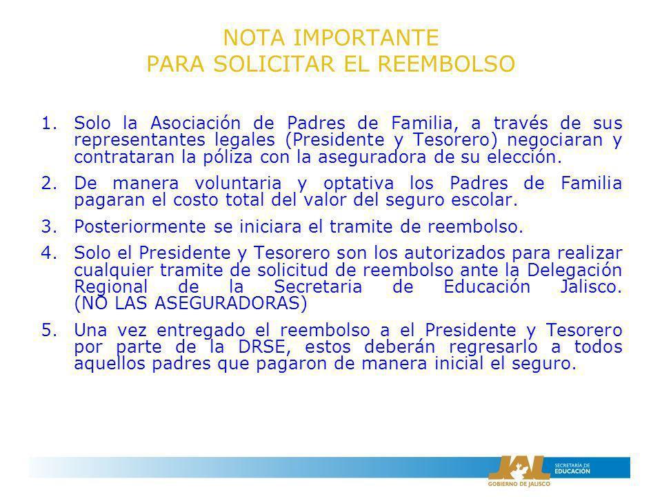NOTA IMPORTANTE PARA SOLICITAR EL REEMBOLSO 1.Solo la Asociación de Padres de Familia, a través de sus representantes legales (Presidente y Tesorero)
